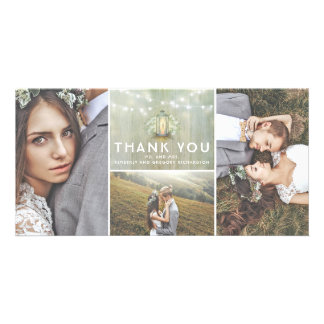 Lantern and Baby's Breath Wedding Thank You Customized Photo Card