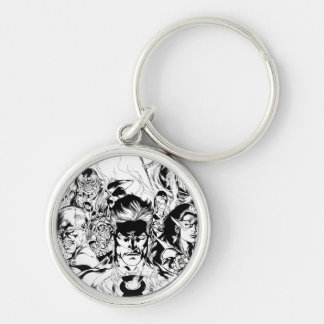 Lantern Corps Group Shot Silver-Colored Round Key Ring