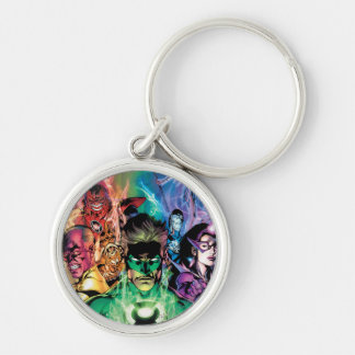 Lantern Corps Group with Colors Silver-Colored Round Key Ring