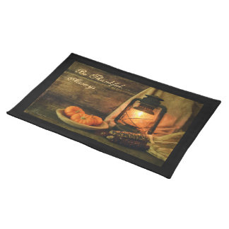 Lantern Light With Pumpkins and Corn Placemat