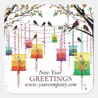 Lanterns Cherry Tree Birds Spring Greetings Square Sticker