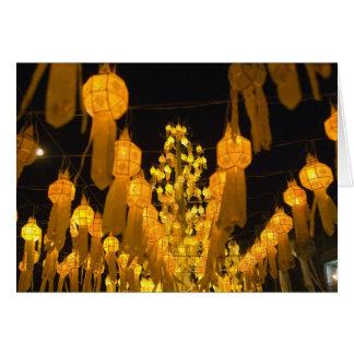 Lanterns for Loi Krathong festival. Greeting Card