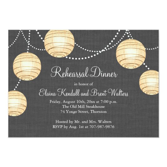 Lanterns on Grey Burlap Rehearsal Dinner Invite