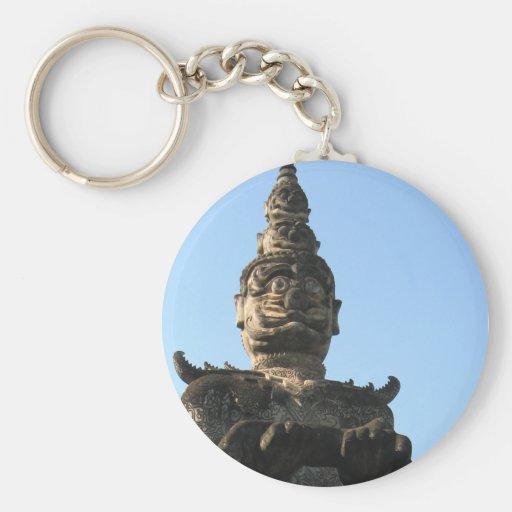 Lao Giant Demon ... Buddha Park, Vientiane, Laos Basic Round Button Key Ring
