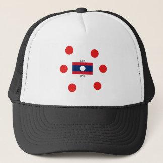 Lao (Laotian) Language And Laos Flag Trucker Hat
