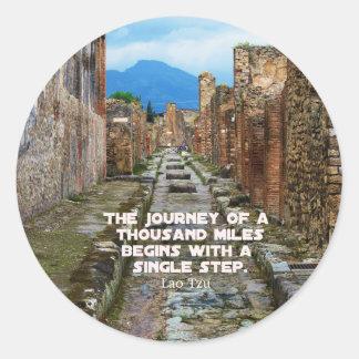 Lao Tzu JOURNEY travel quote Classic Round Sticker
