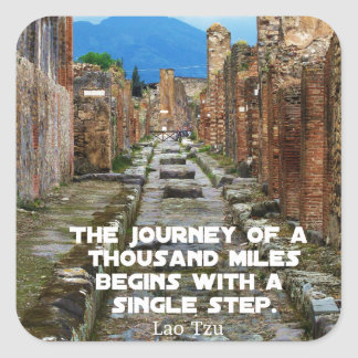Lao Tzu JOURNEY travel quote Square Sticker