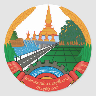 Laos Coat Of Arms Classic Round Sticker