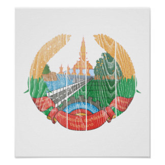 Laos Coat Of Arms Poster