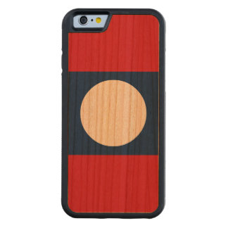 Laos Flag Carved Cherry iPhone 6 Bumper Case