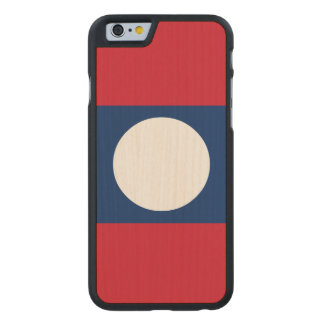 Laos Flag Carved Maple iPhone 6 Case
