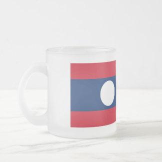 Laos Flag Frosted Glass Coffee Mug