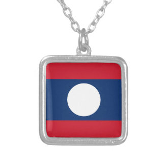Laos Flag Silver Plated Necklace