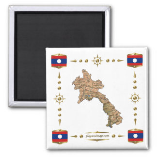 Laos Map + Flags Magnet