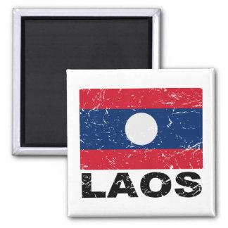 Laos Vintage Flag Square Magnet