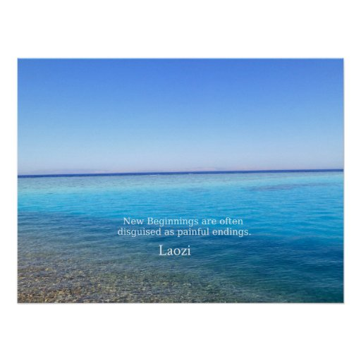 Laozi inspirational quote about NEW BEGINNINGS Poster