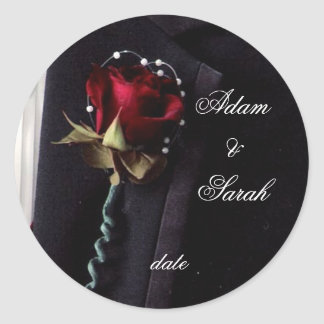 Lapel Rose Save the date Round Sticker