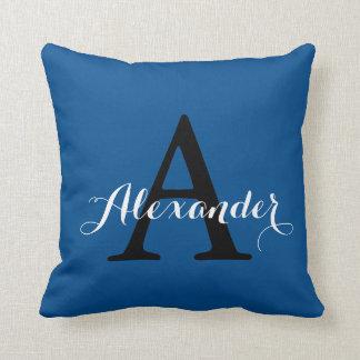 Lapis Blue Intense Radiant Solid Color Monogram Throw Pillow