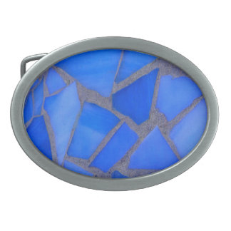 Lapis Blue Mosaic Stained Glass Belt Buckle