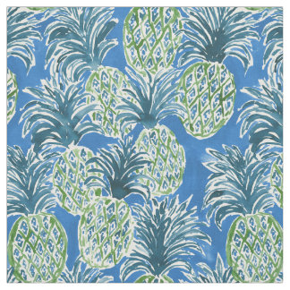 LAPIS PINEAPPLE O'CLOCK Blue Tropical Hawaiian Fabric