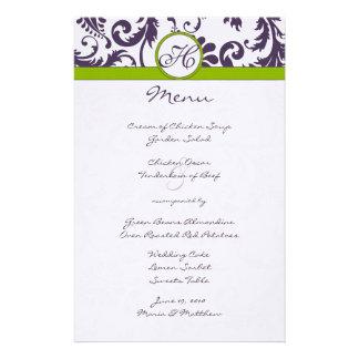 Lapis Purple and Apple Green Damask Wedding Menu Stationery
