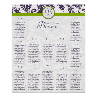 Lapis Purple Damask Green Seating Chart 12 Tables Poster
