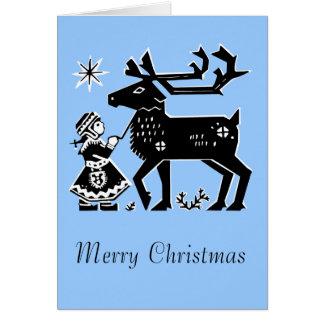 Lapland Girl Holds Reindeer Christmas Card