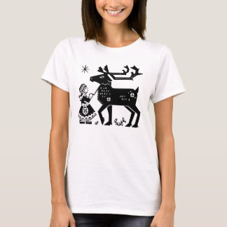 Lapland Girl Holds Reindeer Ladies T Shirt