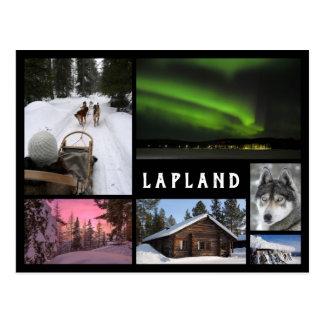 Lapland winter landscapes black frame collage postcard