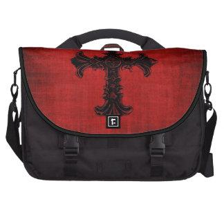 Laptop Bag in Red Velvet with Black Gothic Cross