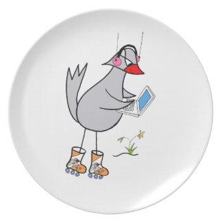 laptop bird party plate