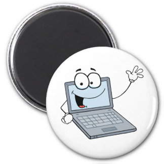Laptop Cartoon Character Waving A Greeting 6 Cm Round Magnet