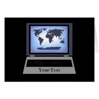 Laptop Computer World Map Greeting Card 2