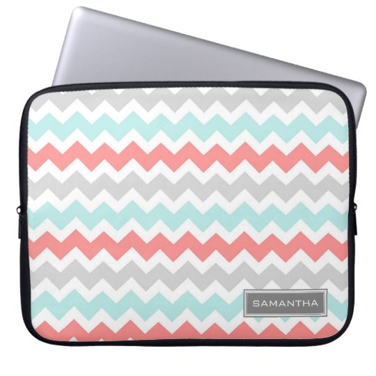 Laptop Coral Teal Chevron Custom Name Laptop Sleeve