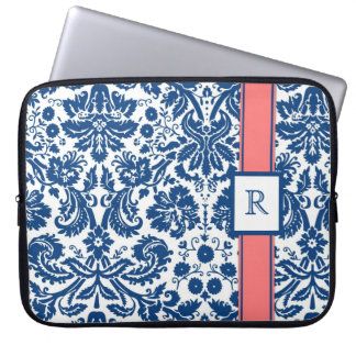 Laptop Custom Monogram Blue Coral Floral Damask Laptop Sleeve