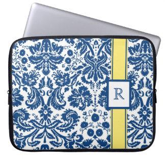 Laptop Custom Monogram Blue Lemon Floral Damask Laptop Sleeve