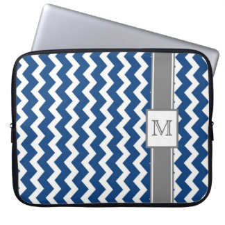 Laptop Custom Monogram Grey Blue Chevrons Laptop Sleeve