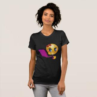 Laptop Girl Emoji T-Shirt