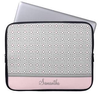 Laptop Gray Pink Custom Name Laptop Sleeve