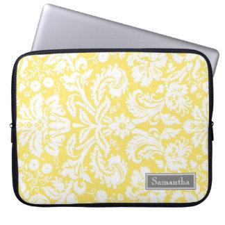 Laptop Lemon Damask Custom Name Laptop Sleeve