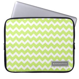 Laptop Lime Chevron Custom Name Laptop Computer Sleeve