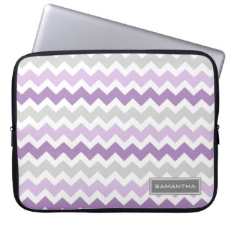 Laptop Purple Ombre Chevron Custom Name Laptop Sleeve