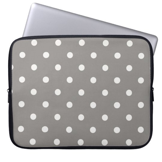 Laptop Sleeve - Grey with White Polka Dots