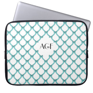 "laptop sleeve monogramed_15""-17"", #133 aqua, bows"