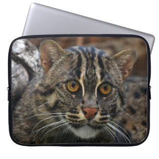 Laptop Sleeve with print of cute fishing cat