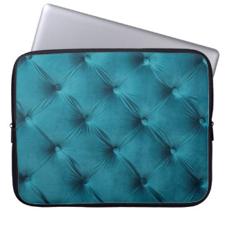 Laptop Sleeve with teal blue capitone