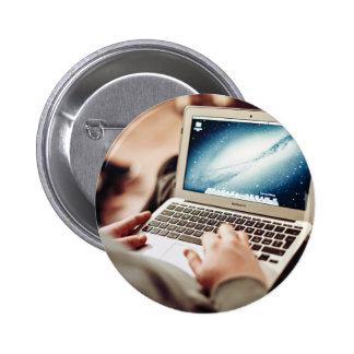 Laptop Themed, A Man Sitting On A Couch, Working O 6 Cm Round Badge