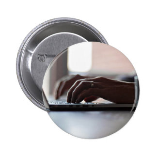 Laptop Themed, A Person Typing On His Laptop As He 6 Cm Round Badge