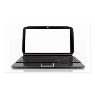 Laptop with blank screen pack of standard business cards