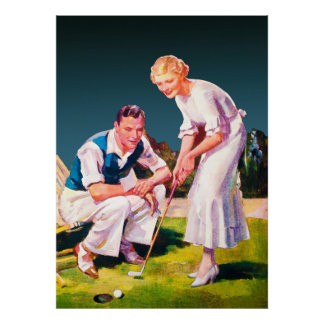 Large 1934 Golf Watercolor Poster